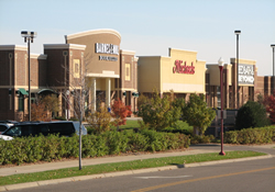 Commercial buildings at Fischer Marketplace front entrances